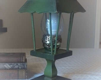 Vintage, painted wood and brass handmade lamp, electrically wired, one bulb, hurricane glass, craftsman, campy, with cord, want-sabi