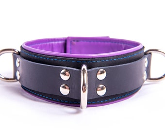 Luxury leather collar - with Velcro and lockable buckle