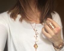 Swarovski rose gold branch necklace