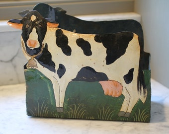 Tinware painted container with country cow