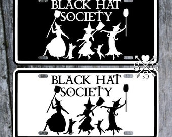 Black Hat Society 3 Witches Gothic Halloween License Plate Car Tag
