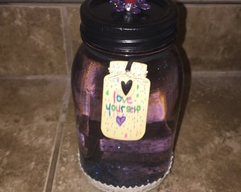 Purple Mason Jar Glitter Globe