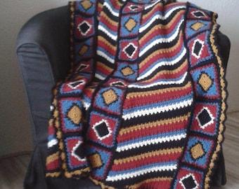 Handmade afghan / throw Navajo pattern