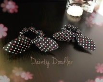 A Pair of Black Heart Print Bunny Ears Hair Scrunchie / Elastic Bobble / Hair Accessory / Beauty / Gift