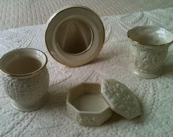 Set of Vintage Lenox China Vases, Trinket Box and Picture Frame