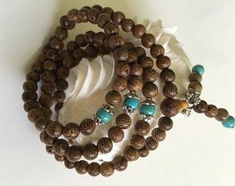 6MM Wenge Wood Beads With Turquoise Tibet Buddhist 108 Prayer Bracelet Necklace Mala