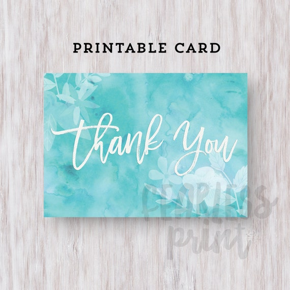 Thank You Card Printable   Printable Thank you Card   Watercolor Floral Thank You Card   Digital Card   Thank You Note INSTANT DOWNLOAD