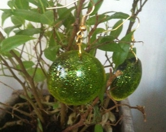 bottle green resin earrings