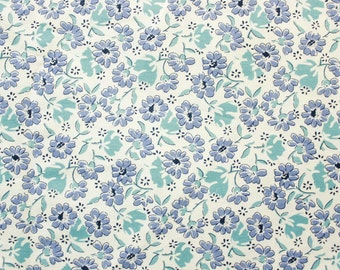 Japanese Floral Fabric, Cotton Fabric, Quilting Fabric, Off white base with sweet little Vintage Blue flowers, Wide, Half Metre