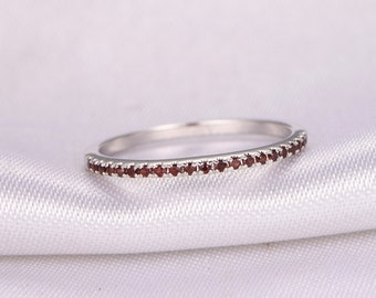 Garnet Wedding Ring Half Eternity Red Garnet Ring Anniversary Ring 14k White Gold Matching Band Infinity Ring Garnet Wedding Band Stackable