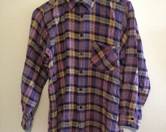 Vtg 100% Cotton Plaid Flannel Men's Shirt (unbranded)