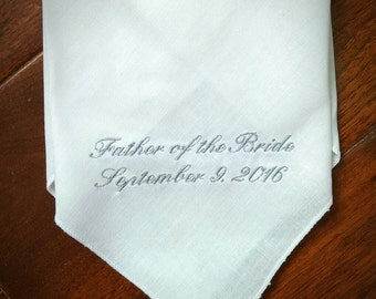 Embroidered wedding hankerchief for father of the bride, groomsmen, bridal party, mother of the groom or bride.