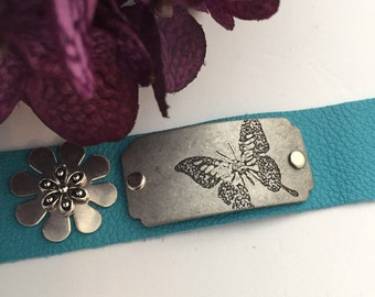 Turquoise Leather Bracelet, Wide Leather Cuff, Butterfly Charms, Crossfit Jewelry, Crossfit Leather Cuff, Mother's Day Gift, Gift for Mom