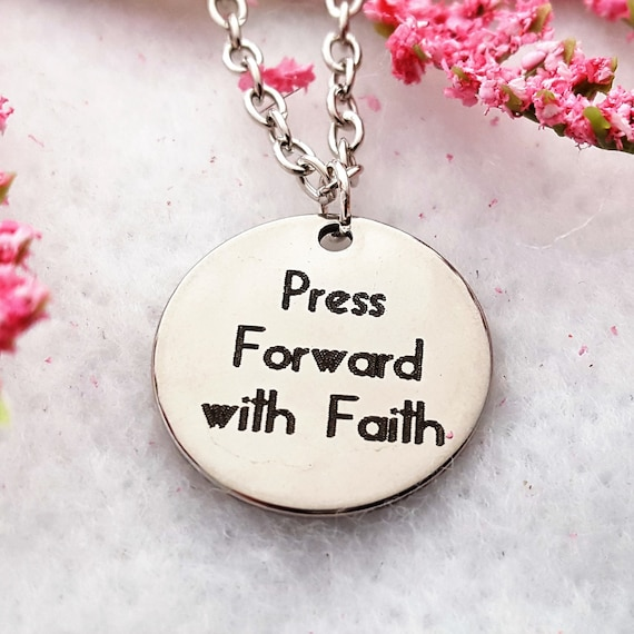 LDS Jewelry, Press Forward With Faith Charm Necklace, CrossFit Gifts, LDS Gifts, Inspirational Motivational Quotes, Sports Fitness Jewelry