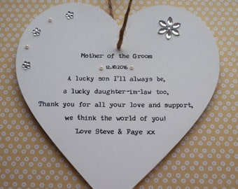 Mother of the Groom thank you gift personalised handmade heart plaque
