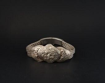 Vintage Silver Floral Etched Bracelet