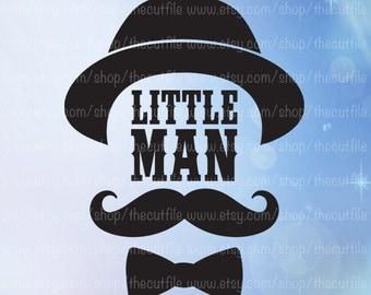 Little Man svg, dapper dude with hat, mustache boy, svg eps dxf jpeg, baby bodysuit design