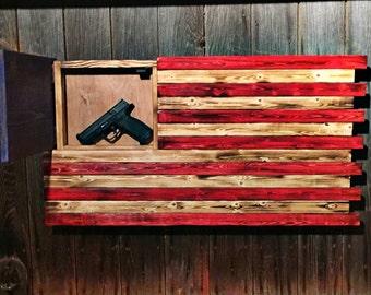 Wonderful Wood Concealment American Flag Hidden Gun Flag American Flag Rustic Gun  Concealment Flag Gun Cabinet Wood