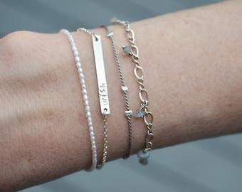 Dainty Personalized Bracelet, Layering Bracelet, Hand Stamped, Gold, Rose Gold, Silver BB303