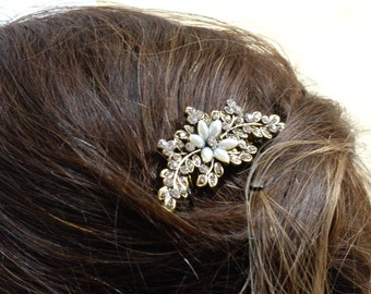 Gold Flower Pearl Bridal Comb with Diamantes