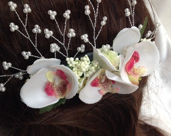 Handmade Orchid Flower Hair Comb with Silver Sprigs of Pearls