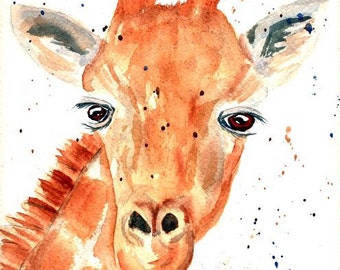 Giraffe original watercolor painting, 10 x 11, Giraffe painting, Animal painting, wall hanging, home decor