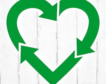 Recycle Symbol In Heart Shape , Heart Recycle Sticker , Vinyl Recycling Heart , I Love Recycling , Save The Earth , Recycle Bin Label , Icon