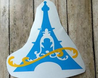 Yeti Paris France Eiffel Tower Decal , French Tower Yeti Decal , French Tourist Traveling Europe , Flourish Paris Laptop Sticker , France