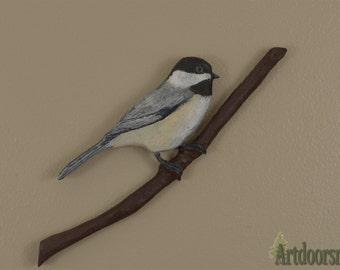 Black-capped Chickadee wood carving - Artdoorsman