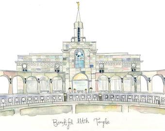 Bountiful Utah Temple-Watercolor