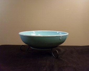Mid Century Vintage Drip Glaze Pottery Bowl with Iron Stand