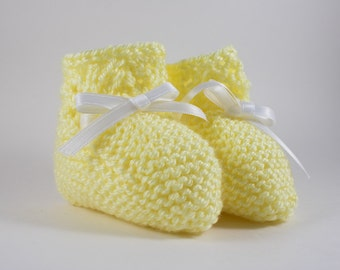 Yellow Knit Baby Boots with Ribbon - Baby Booties - Knitted boots - Knit baby shoes