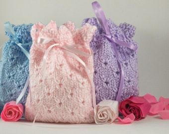 Knit Sachet - Lavender Sachet Holder- Potpourri Holder - Soap Pouch