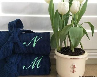 Bridesmaid gift, Bridesmaid waffle robe, bridesmaid monogram robe, wedding robe, bridal party gift, bridal robe, monogrammed waffle robe