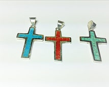 Cross Pendant Necklace filled with Mosaic inlay.