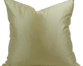 "Yellow Gold Sateen Decorative Pillow Cover in 19.5"" x 19.5"""