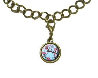 Cheery Cherry Blossoms Charm with Chain Bracelet