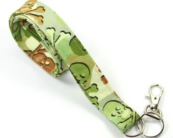 SKULL Fabric Lanyard, Skull Badge Holder, Camouflage skull Lanyard, Skull Lanyard, Green lanyard
