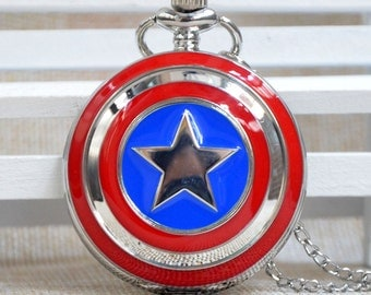 Captain America Pocket Watch Necklace - Silver Pocket Watch