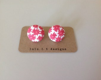 flower fabric covered button earrings pair, flower fabric stud earrings