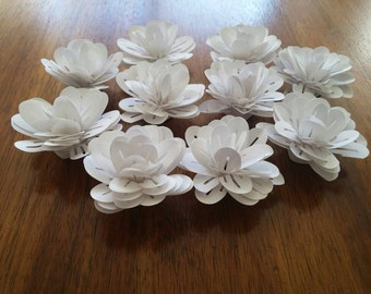 Small white handmade, rolled paper flowers.