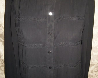 Vintage Black Sheer Chiffon Blouse Shirt