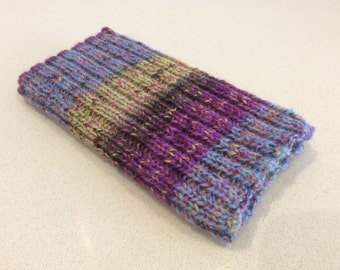 Knitted iPhone sock for 7, 6, 6S smartphone cover case, purple blue lime