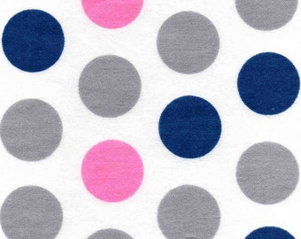 Flannel by the Yard - Navy Blue Polka Dot Fabric - Pink Polka Dot Fabric for Sale - Gray Polka Dot Flannel Fabric - Navy Blue Fabric