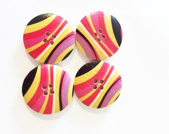 Red Stripe Retro Button - Black Button - Scrapbook Buttons - 25 mm Button - Extra Large Button - 1 Inch Button - 4 Hole Button - Wood Button