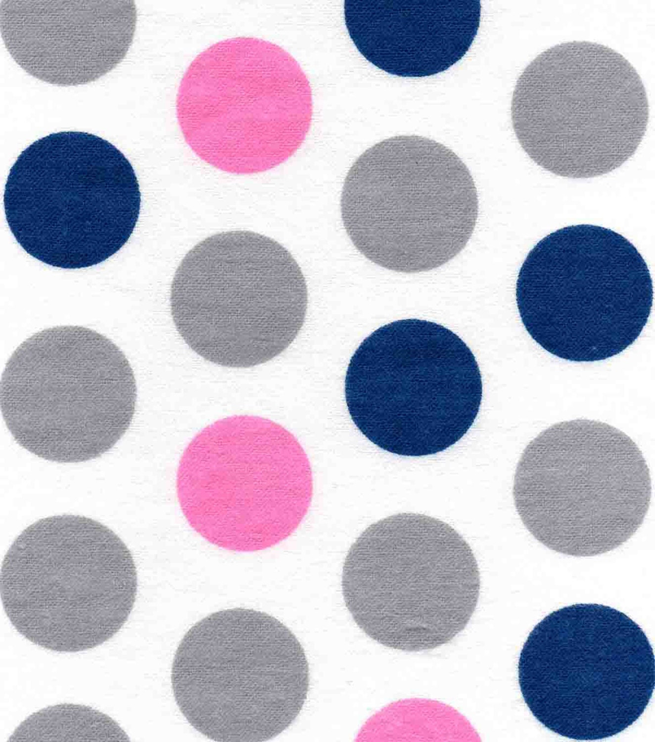 Flannel by the Yard Navy Blue Polka Dot Fabric Pink Polka