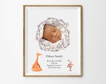 Birth Announcement art, 5 x 7 in, 8 x 10 in, 11 x 14 in, Personalized nursery art,  Newborn custom photo, Birth art print, Printable art