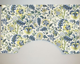 Waverly Imperial Dress Blue Yellow Custom Valance, Jacobean Floral, Lined