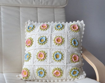 Crochet cushion cover. Crochet pillow cover.