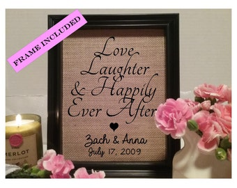 Love Laughter Happily Ever After Burlap Print, Wedding Gift, Wedding Shower Gift, Wedding Print, For the Couple, Custom Wedding Gift, Couple